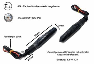 2 Stk Led Motorrad Blinker Laufeffekt Schwarz Carbon Lauflicht Sequentiell SimdaPro Universal E Prüfzeichen & Wasserprüf IP67 ECE V5 Super Optik und Schön Hell - 2