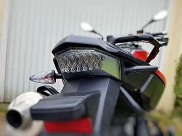 2 Stk Led Motorrad Blinker Laufeffekt Schwarz Carbon Lauflicht Sequentiell SimdaPro Universal E Prüfzeichen & Wasserprüf IP67 ECE V5 Super Optik und Schön Hell - 5