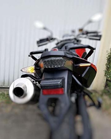 2 Stk Led Motorrad Blinker Laufeffekt Schwarz Carbon Lauflicht Sequentiell SimdaPro Universal E Prüfzeichen & Wasserprüf IP67 ECE V5 Super Optik und Schön Hell - 7