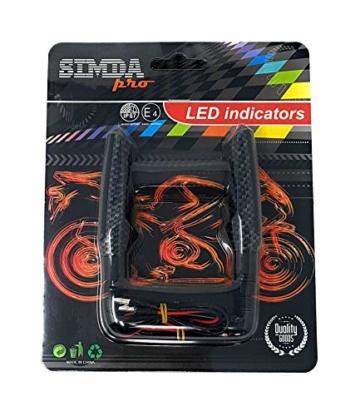 2 Stk Led Motorrad Blinker Laufeffekt Schwarz Carbon Lauflicht Sequentiell SimdaPro Universal E Prüfzeichen & Wasserprüf IP67 ECE V5 Super Optik und Schön Hell - 8