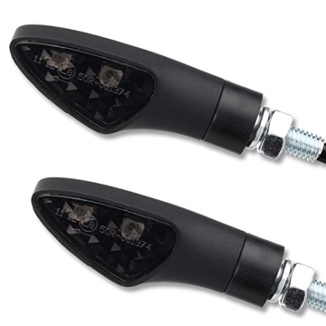 4 x 12V LED Blinker Motorradblinker Shield schwarz smoke getönt E-Zulassung vorne hinten Motorrad Quad ATV Roller Moped - 4