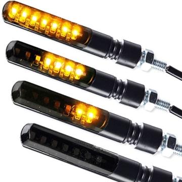 4 x LED Laufeffekt Lauflicht Blinker Motorradblinker Blade Sequentiell schwarz getönt 2 Paar 4 Stück - 1