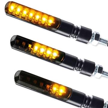 4 x LED Laufeffekt Lauflicht Blinker Motorradblinker Blade Sequentiell schwarz getönt 2 Paar 4 Stück - 6