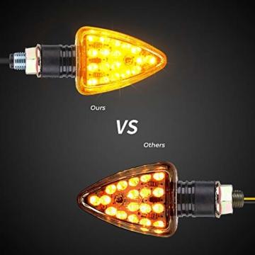 4 x LED Motorrad Mini Blinker E geprüft 12V Universal IP65 Wasserdicht LED Motorradblinker, M10 schwarz, 2 Paar - 2