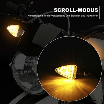 4 x LED Motorrad Mini Blinker E geprüft 12V Universal IP65 Wasserdicht LED Motorradblinker, M10 schwarz, 2 Paar - 6