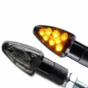 4x Miniblinker universal schwarz getönt LED Motorrad Blinker Wizzard 2 Paar Blinker - 2