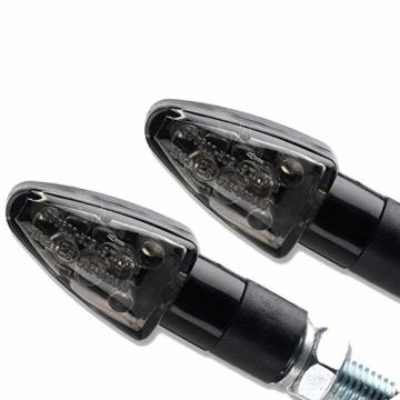 4x Miniblinker universal schwarz getönt LED Motorrad Blinker Wizzard 2 Paar Blinker - 4