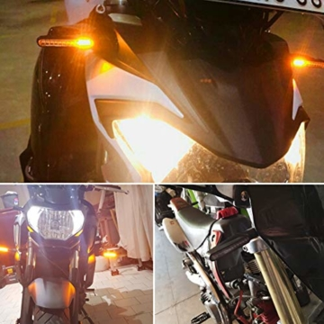 FEZZ LED Blinker Motorrad E Geprüft Universal LED Blinker Tagfahrlicht Motorrad Blinker Motorrad Led Lauflicht, Bernstein (4 Stück) - 2