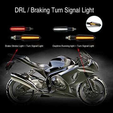 FEZZ LED Blinker Motorrad Universal mit Bremslicht Tagfahrlicht Motorrad, E Roller Blinker, Packung mit 4 (Bernstein+Rot+Weiß) - 2