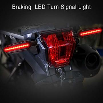 FEZZ LED Blinker Motorrad Universal mit Bremslicht Tagfahrlicht Motorrad, E Roller Blinker, Packung mit 4 (Bernstein+Rot+Weiß) - 6