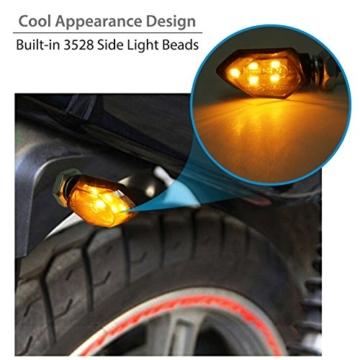 Justech 4 x 12V LED Smoked Microblinker licht Miniblinker Blinker Lampe Motorrad/E-Prüfzeichen 3528 Lichtperlen Bernstein IP65 wasserdicht - 3