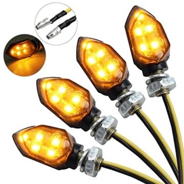 Justech 4 x 12V LED Smoked Microblinker licht Miniblinker Blinker Lampe Motorrad/E-Prüfzeichen 3528 Lichtperlen Bernstein IP65 wasserdicht - 1