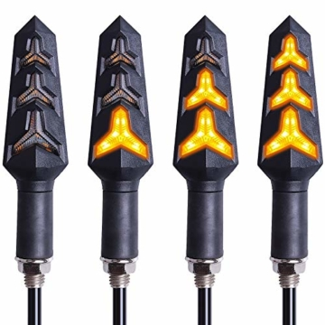 Kinstecks 4PCS Motorradanzeigen Fließende Blinker Motorrad Anzeigeleuchten 12 V 12 LEDs Lampen für Motorrad Motorrad Roller Quad Cruiser Off Road-Y Form - 1