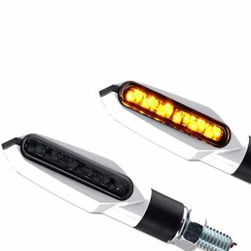 LED Motorrad Mini Blinker weiß schwarz getönt vorne hinten e-geprüft 12V 1 Paar - 2