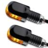LED Ochsenaugen Blinker Lenkerenden Motorrad Blinker OX schwarz getönt - 1