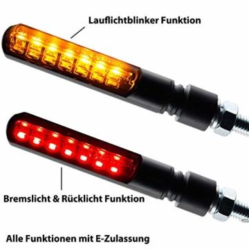 Motorrad LED Lauflicht Laufeffekt Blinker mit Rücklicht Bremslicht Sequentiell Blade schwarz getönt - 3