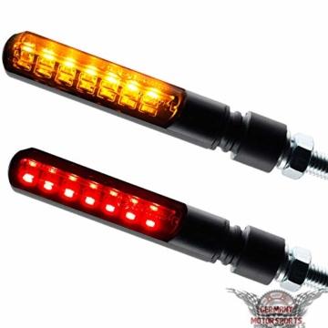 Motorrad LED Lauflicht Laufeffekt Blinker mit Rücklicht Bremslicht Sequentiell Blade schwarz getönt - 5