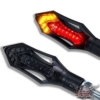 Motorrad LED Mini Blinker Rücklicht Bremslicht 12V 3IN1 Kombination Blinker Rush schwarz smoke getönt 2 STÜCK - 1 Paar - 1