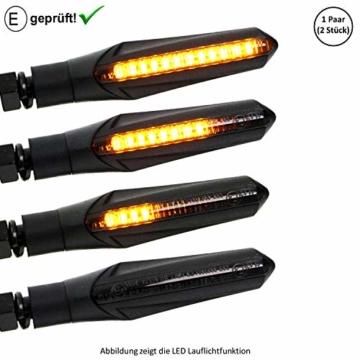Universal Motorrad LED Blinker Lauflicht Laufeffekt (E-Geprüft) / Motorroller LED Blinker (ECE) (V5) (Schwarz) - 1